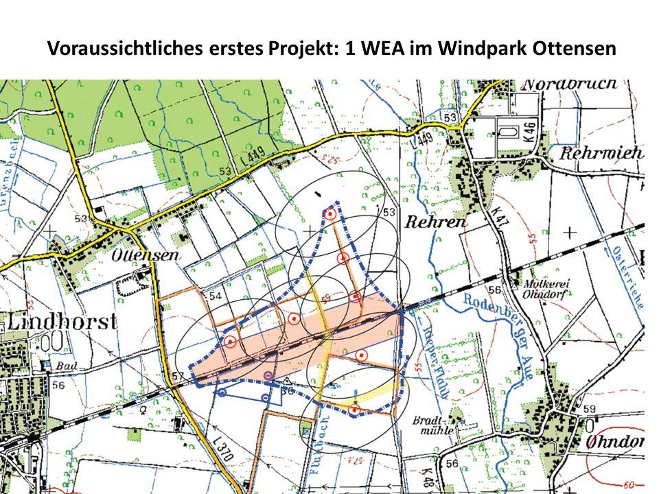 Voraussichtliches erstes Projekt: 1 WEA im Windpark Ottensen