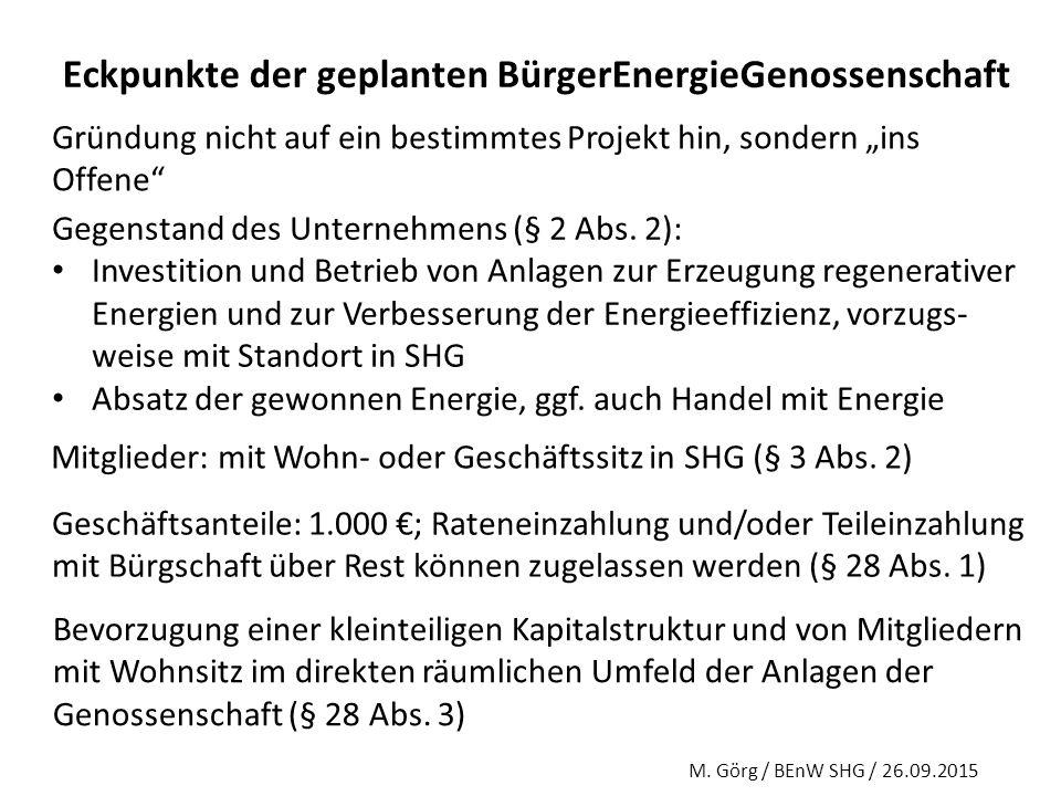 Eckpunkte der geplanten BürgerEnergieGenossenschaft
