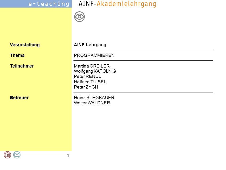 AINF-Lehrgang PROGRAMMIEREN. Martina GREILER. Wolfgang KATOLNIG. Peter RENDL. Helfried TUISEL. Peter ZYCH.