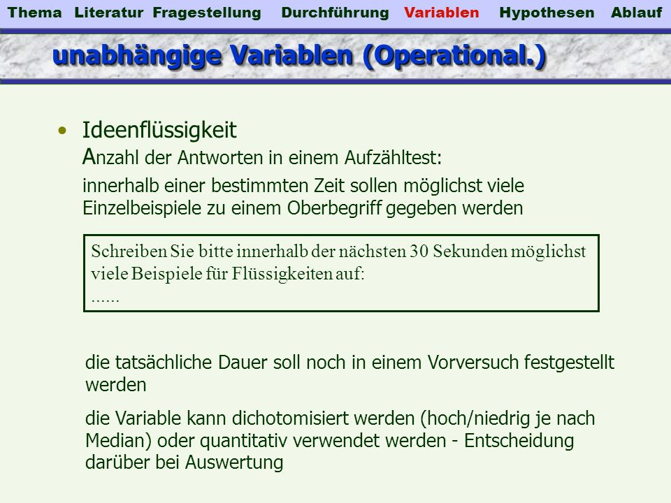 unabhängige Variablen (Operational.)