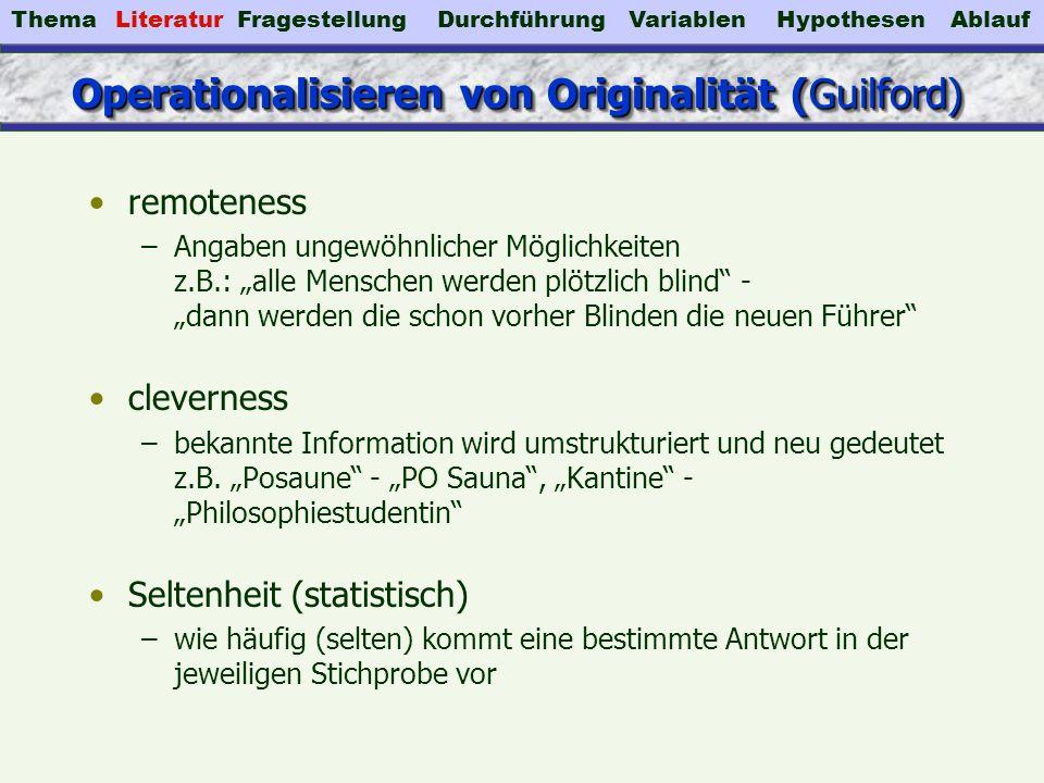 Operationalisieren von Originalität (Guilford)