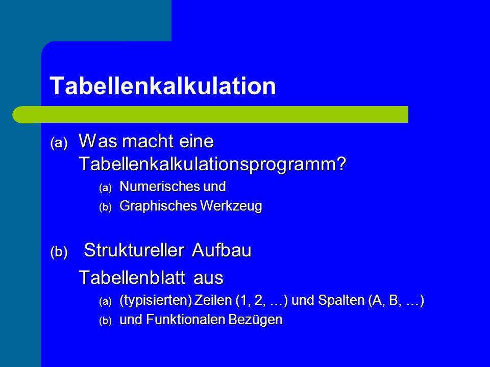 Tabellenkalkulation Was macht eine Tabellenkalkulationsprogramm