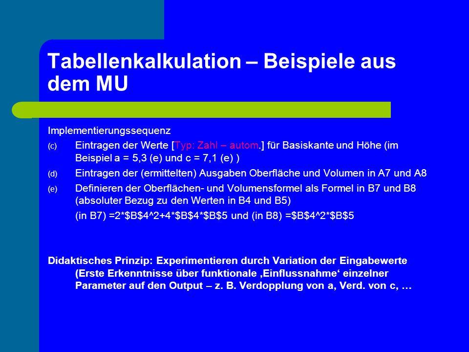 Tabellenkalkulation – Beispiele aus dem MU