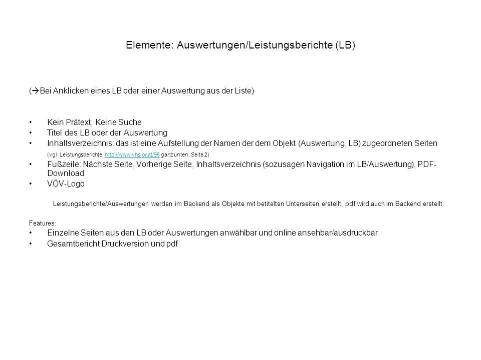 Elemente: Auswertungen/Leistungsberichte (LB)