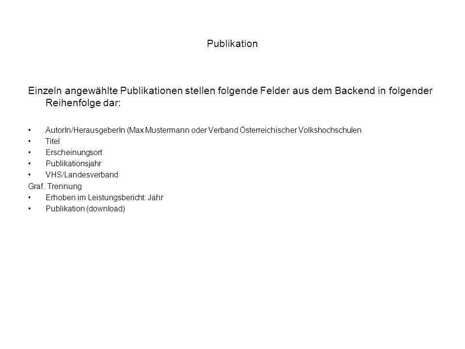 Publikation Einzeln angewählte Publikationen stellen folgende Felder aus dem Backend in folgender Reihenfolge dar: