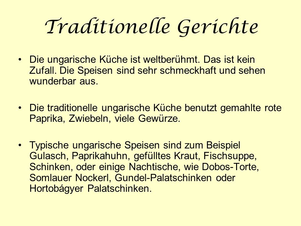 Traditionelle Gerichte
