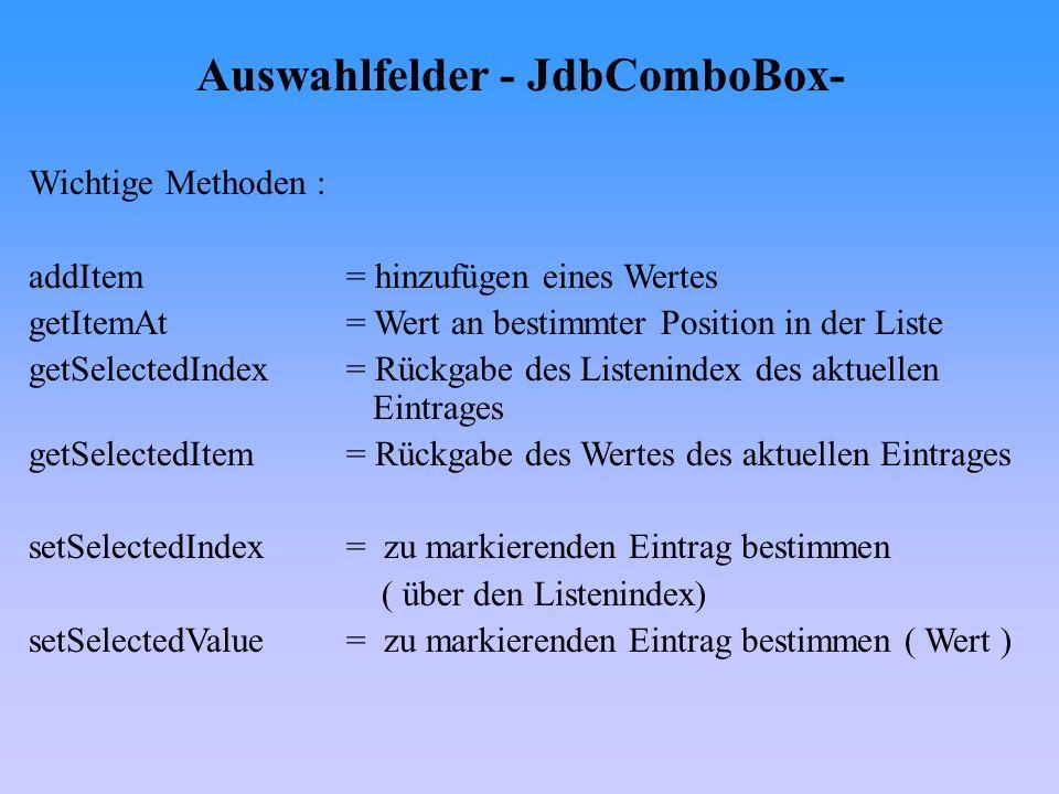 Auswahlfelder - JdbComboBox-