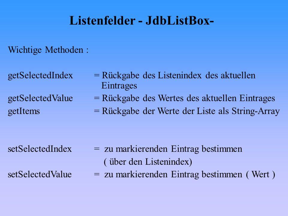 Listenfelder - JdbListBox-