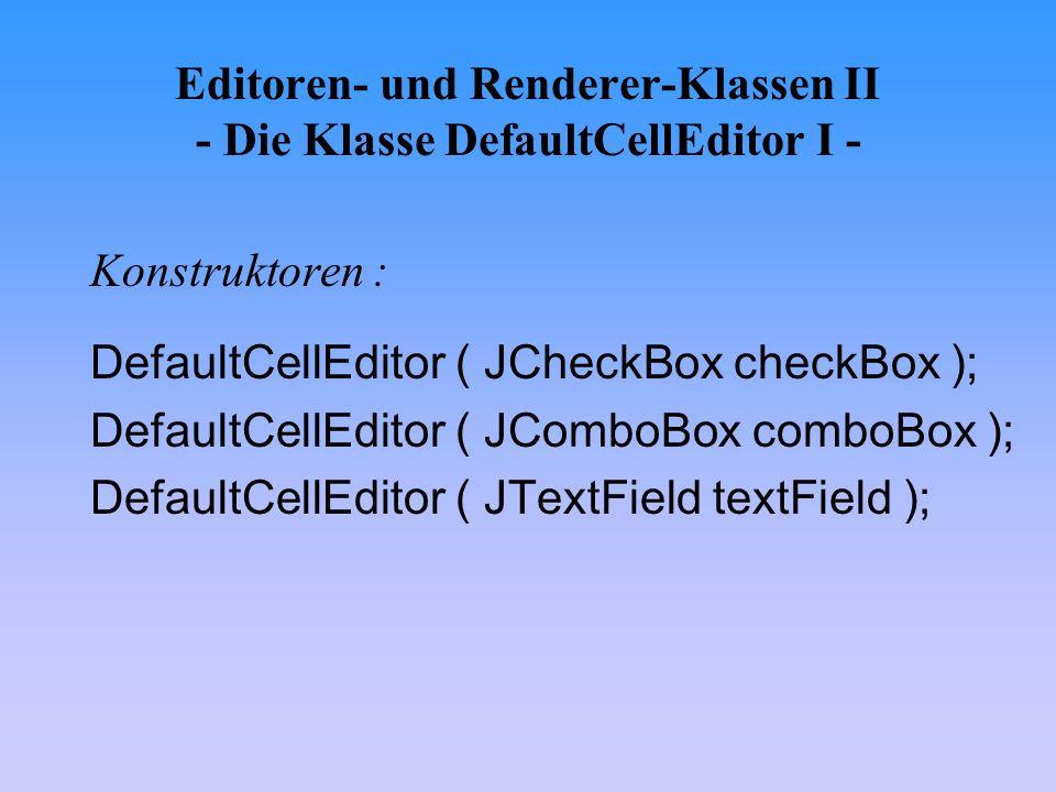 Editoren- und Renderer-Klassen II - Die Klasse DefaultCellEditor I -