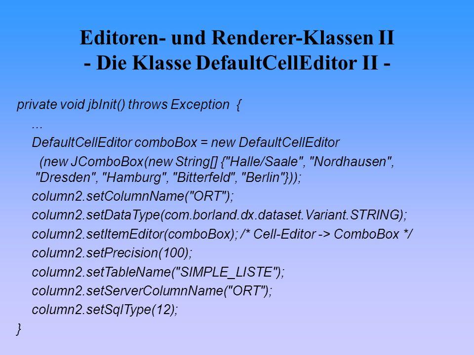 Editoren- und Renderer-Klassen II - Die Klasse DefaultCellEditor II -