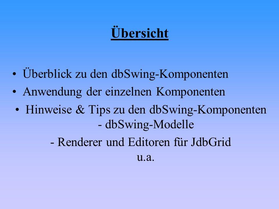 Übersicht Überblick zu den dbSwing-Komponenten