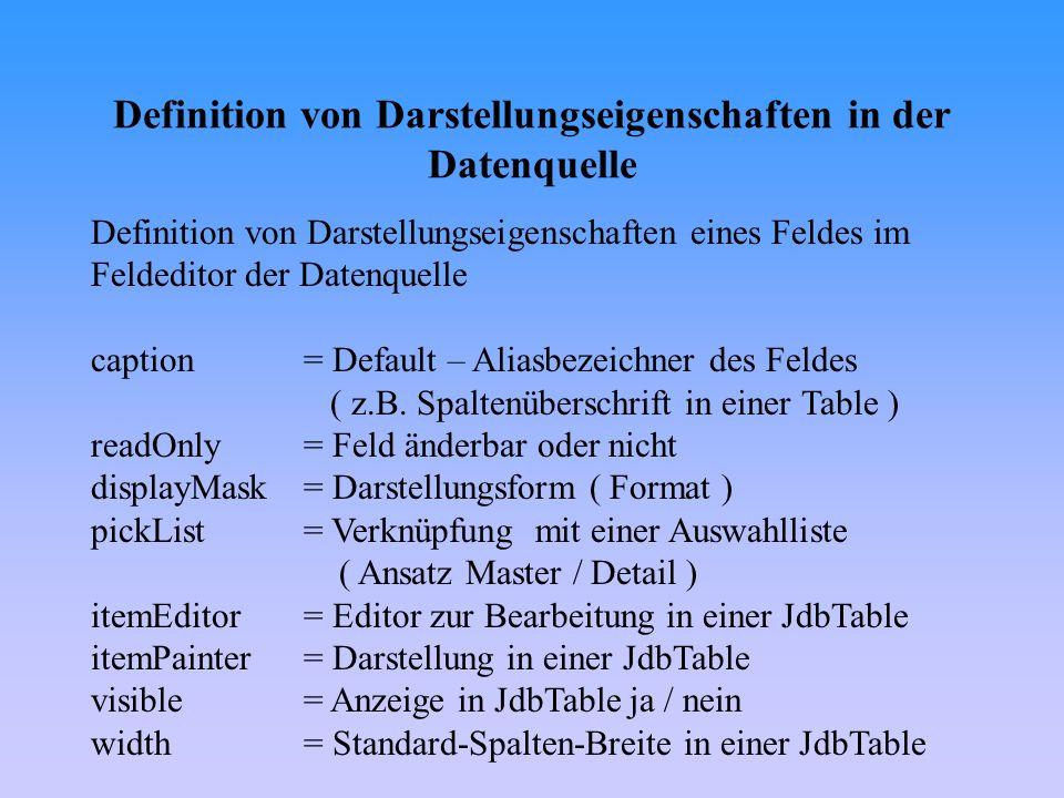 Definition von Darstellungseigenschaften in der Datenquelle