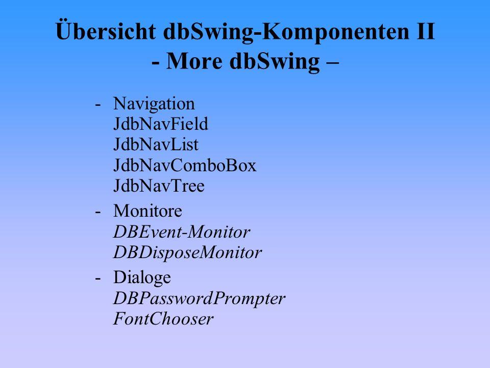 Übersicht dbSwing-Komponenten II - More dbSwing –