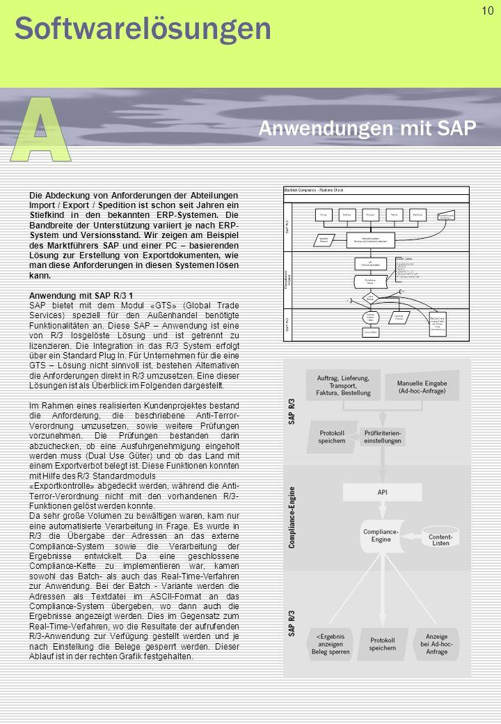 A Softwarelösungen Anwendungen mit SAP 10