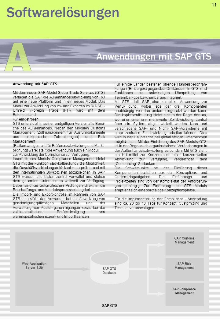 A Softwarelösungen Anwendungen mit SAP GTS 11 Anwendung mit SAP GTS