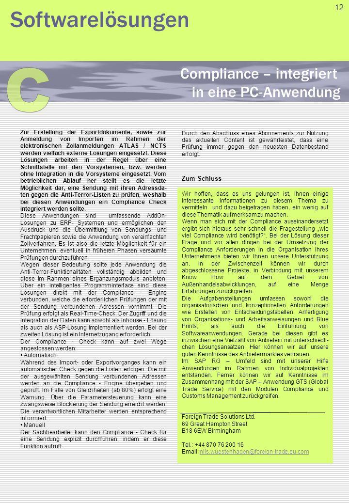 C Softwarelösungen Compliance – integriert in eine PC-Anwendung 12