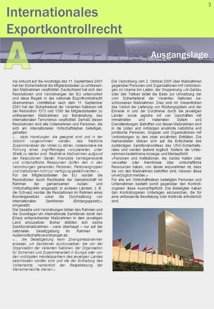 A Internationales Exportkontrollrecht Ausgangslage 3