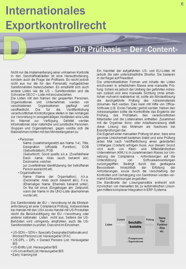 D Internationales Exportkontrollrecht Die Prüfbasis – Der «Content» 6