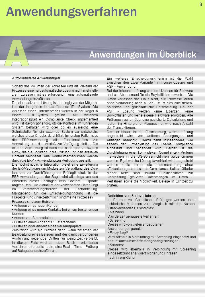 A Anwendungsverfahren Anwendungen im Überblick 8