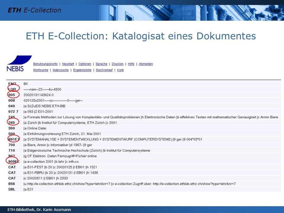 ETH E-Collection: Katalogisat eines Dokumentes