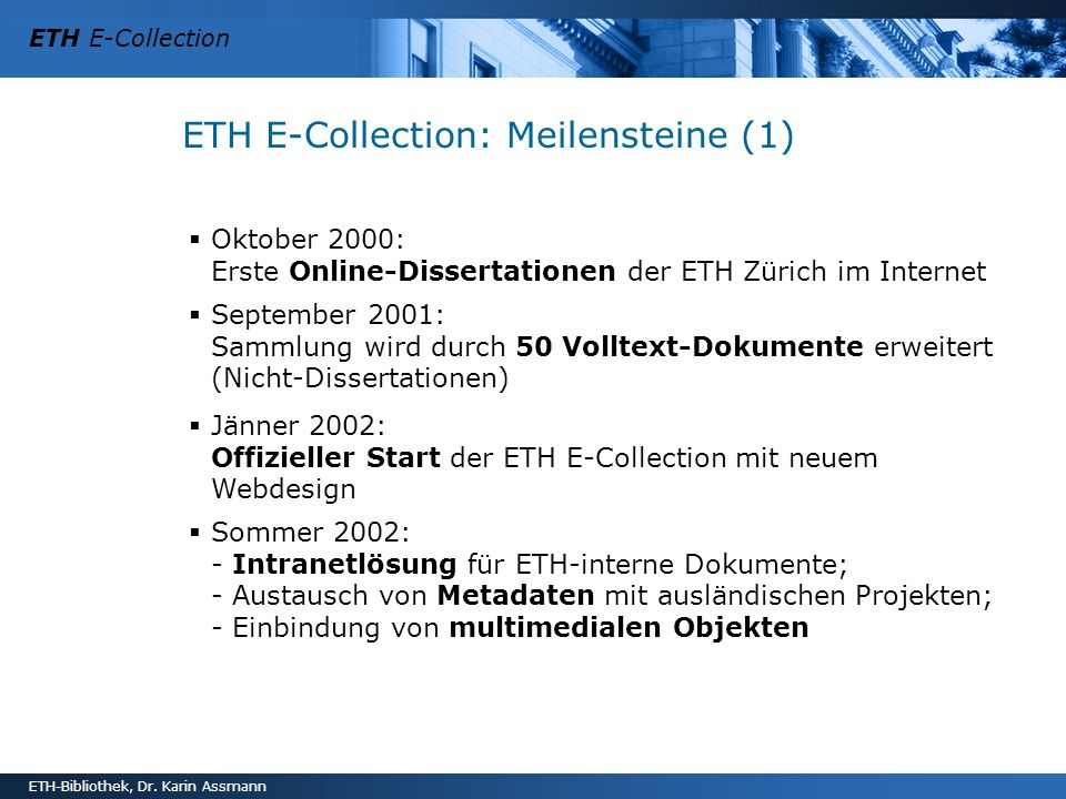ETH E-Collection: Meilensteine (1)