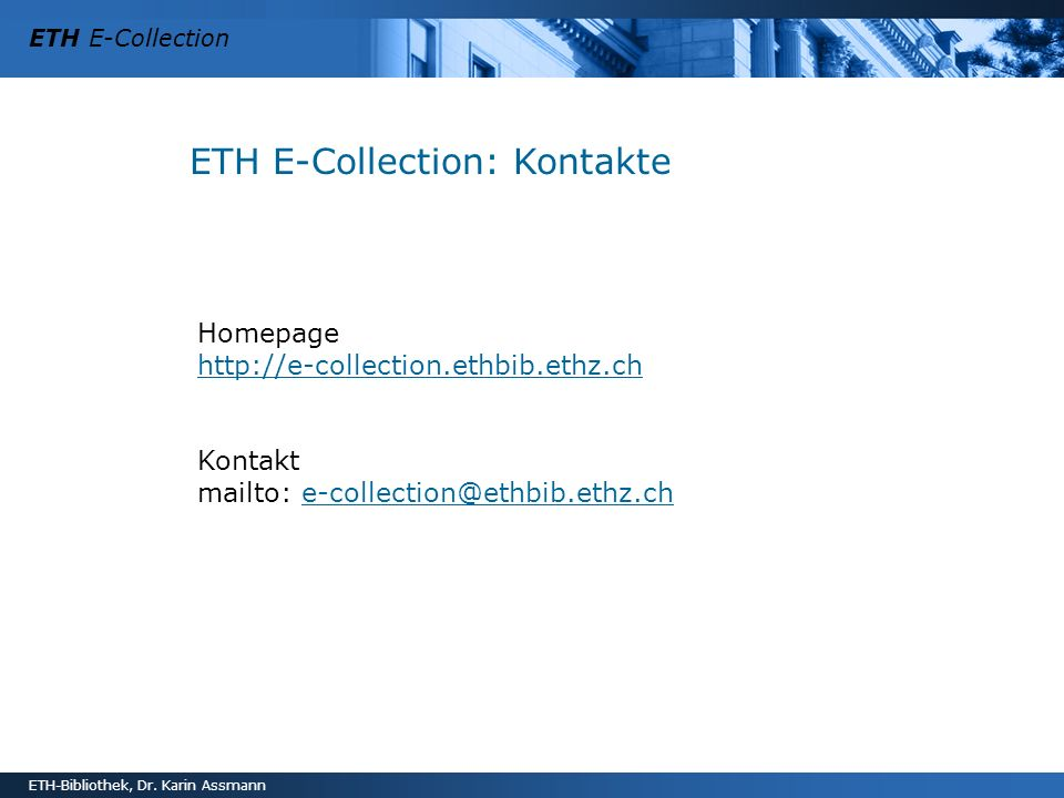 ETH E-Collection: Kontakte