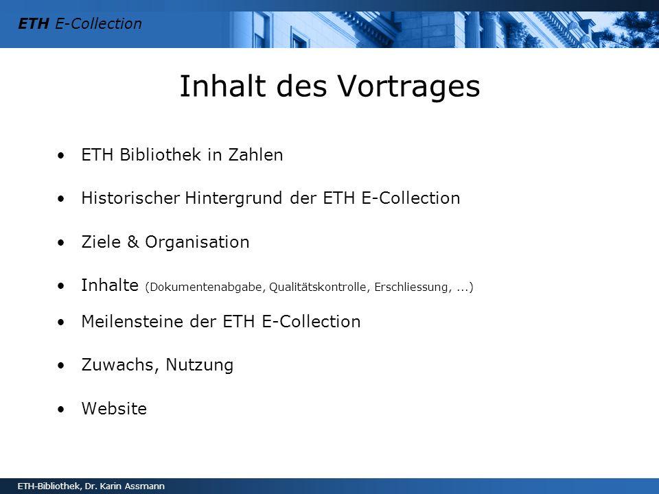 Inhalt des Vortrages ETH Bibliothek in Zahlen