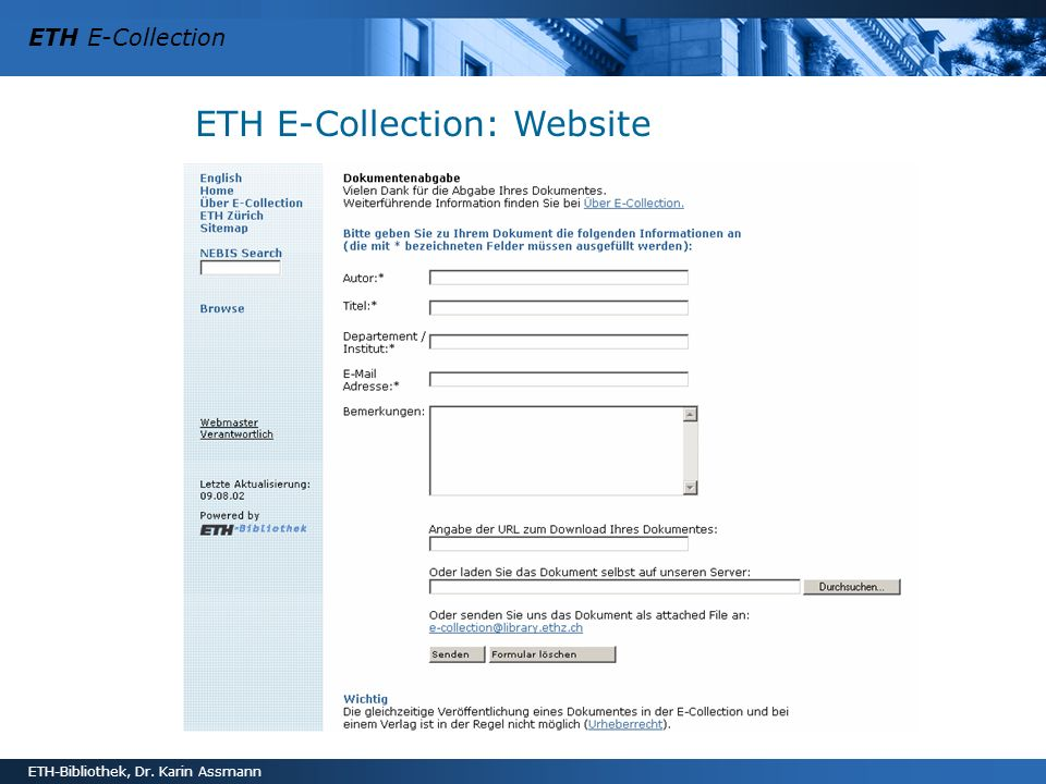ETH E-Collection: Website