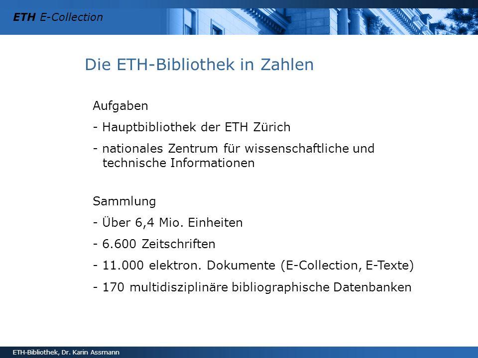 Die ETH-Bibliothek in Zahlen