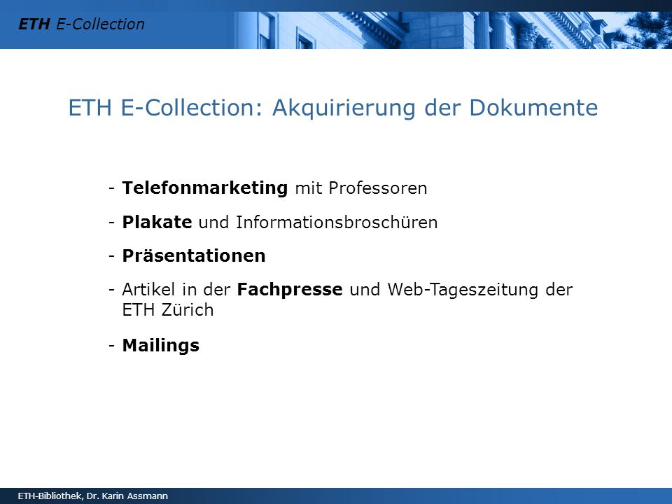 ETH E-Collection: Akquirierung der Dokumente