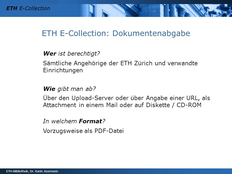 ETH E-Collection: Dokumentenabgabe