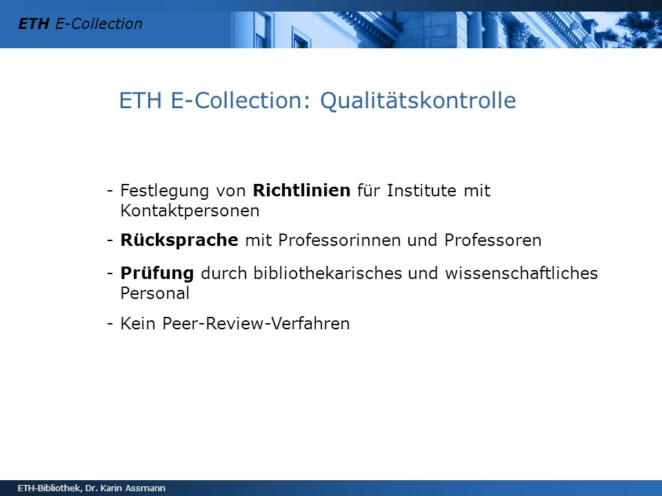 ETH E-Collection: Qualitätskontrolle