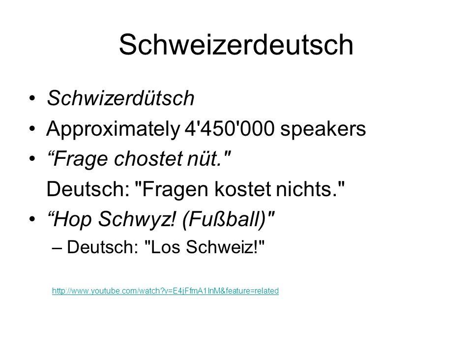 Schweizerdeutsch Schwizerdütsch Approximately 4 450 000 speakers