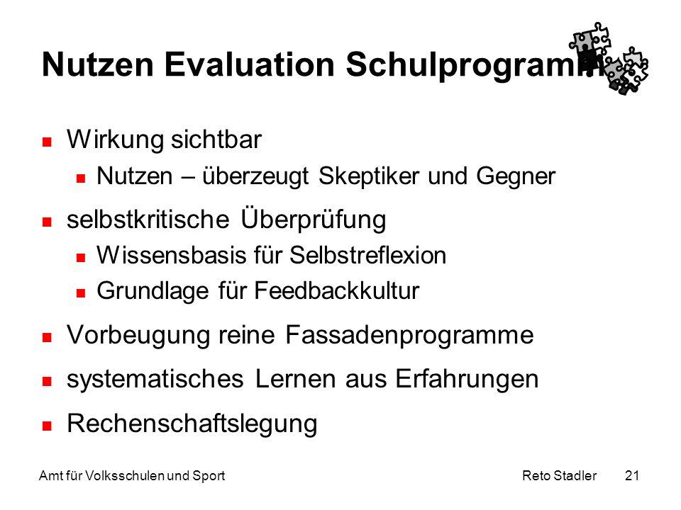 Nutzen Evaluation Schulprogramm