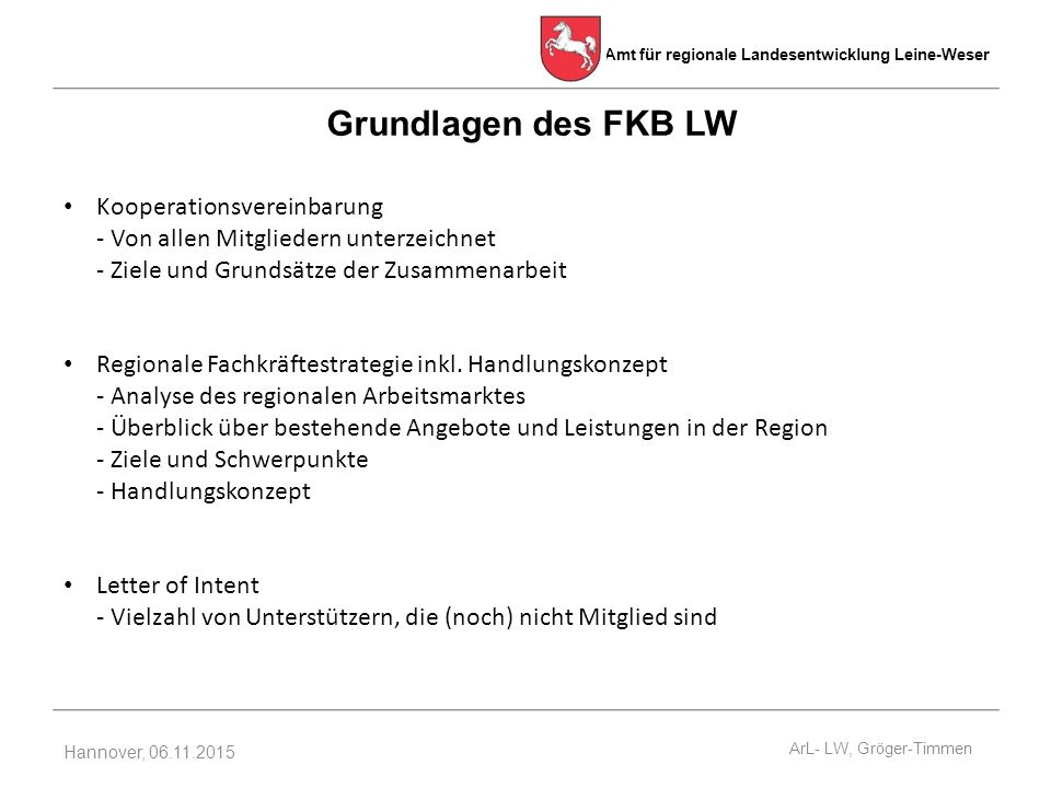 Grundlagen des FKB LW Kooperationsvereinbarung - Von allen Mitgliedern unterzeichnet - Ziele und Grundsätze der Zusammenarbeit.