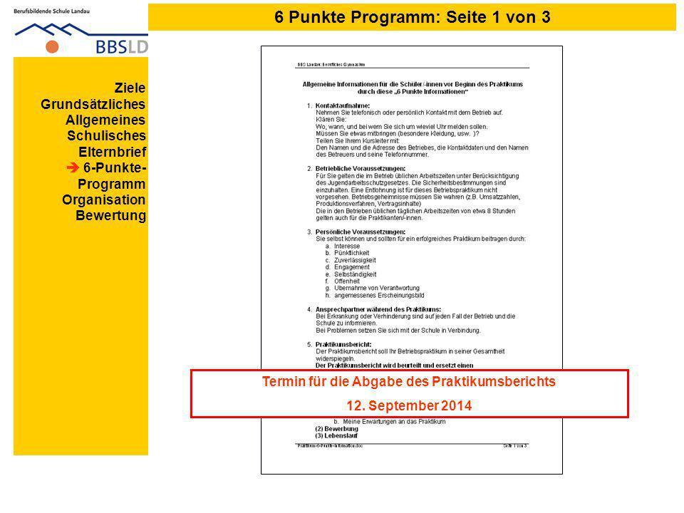 6 Punkte Programm: Seite 1 von 3