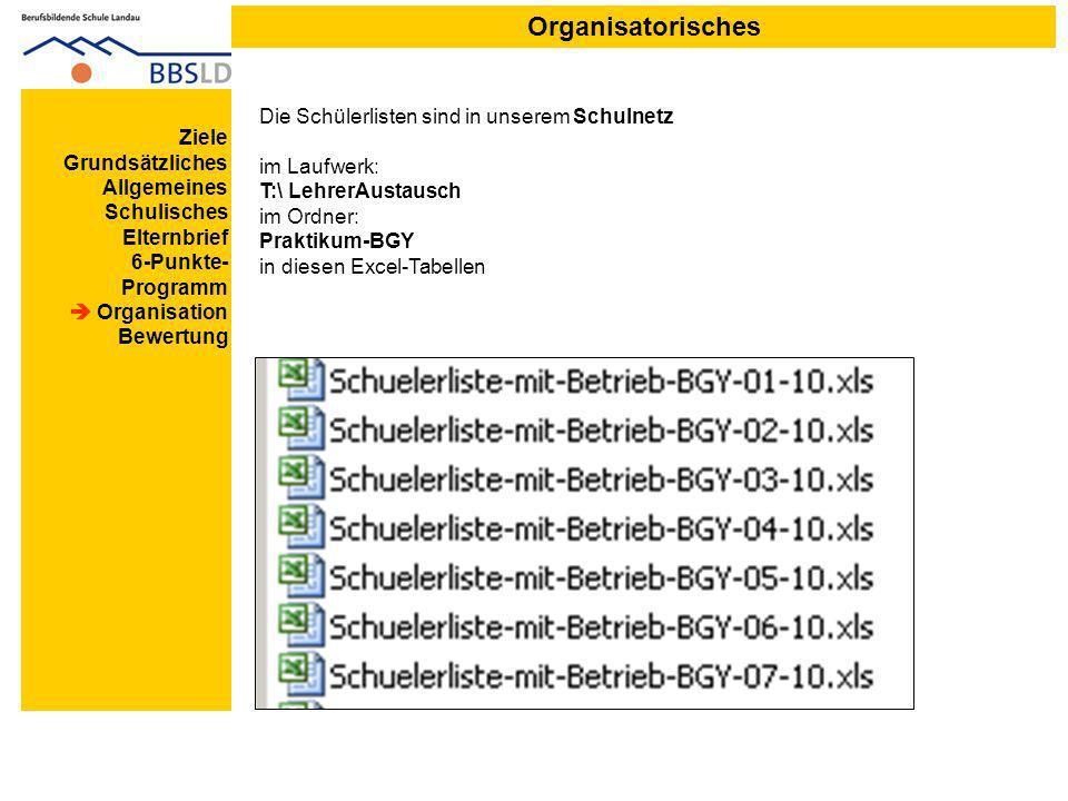 Organisatorisches Die Schülerlisten sind in unserem Schulnetz im Laufwerk: T:\ LehrerAustausch im Ordner: Praktikum-BGY in diesen Excel-Tabellen.