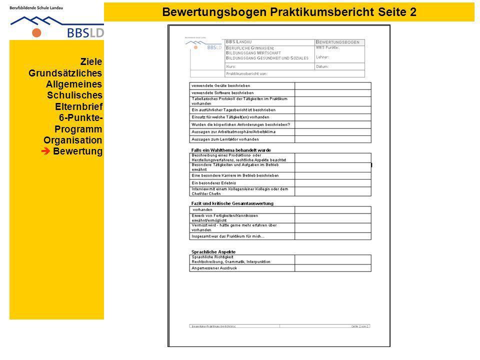 Bewertungsbogen Praktikumsbericht Seite 2