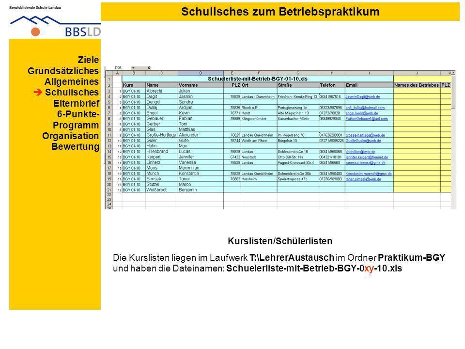 Schulisches zum Betriebspraktikum Kurslisten/Schülerlisten