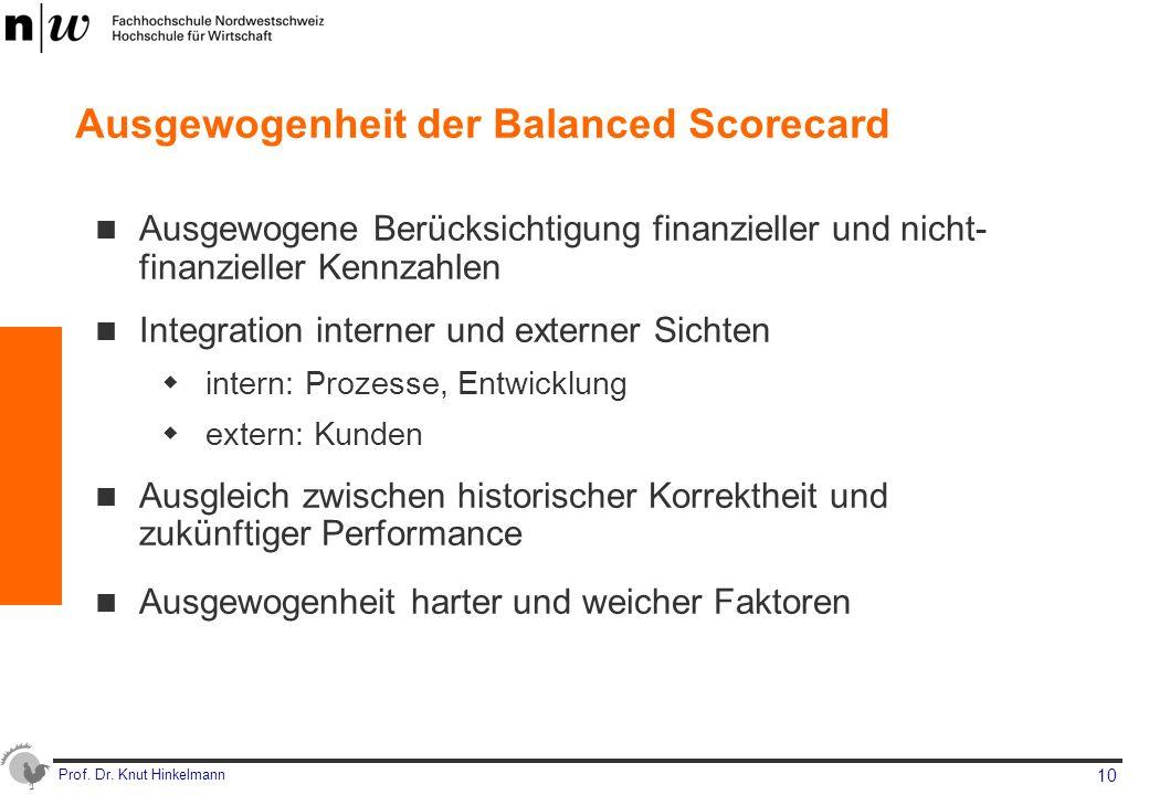 Ausgewogenheit der Balanced Scorecard
