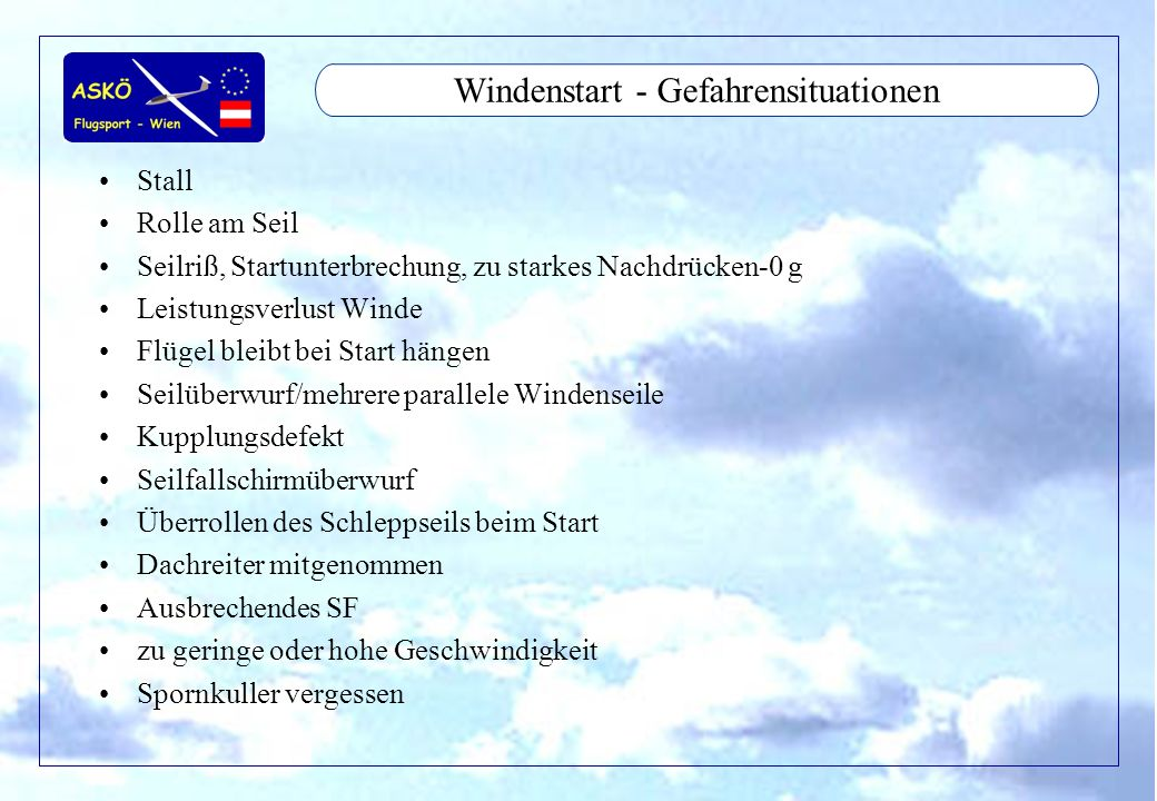 Windenstart - Gefahrensituationen