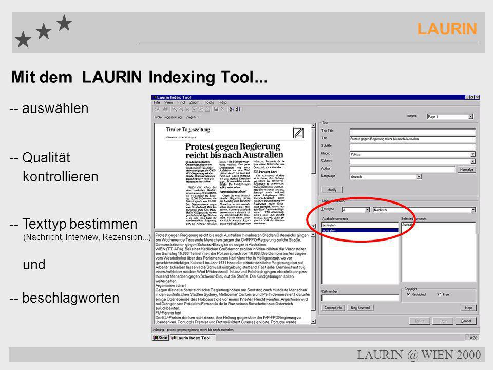 Mit dem LAURIN Indexing Tool...