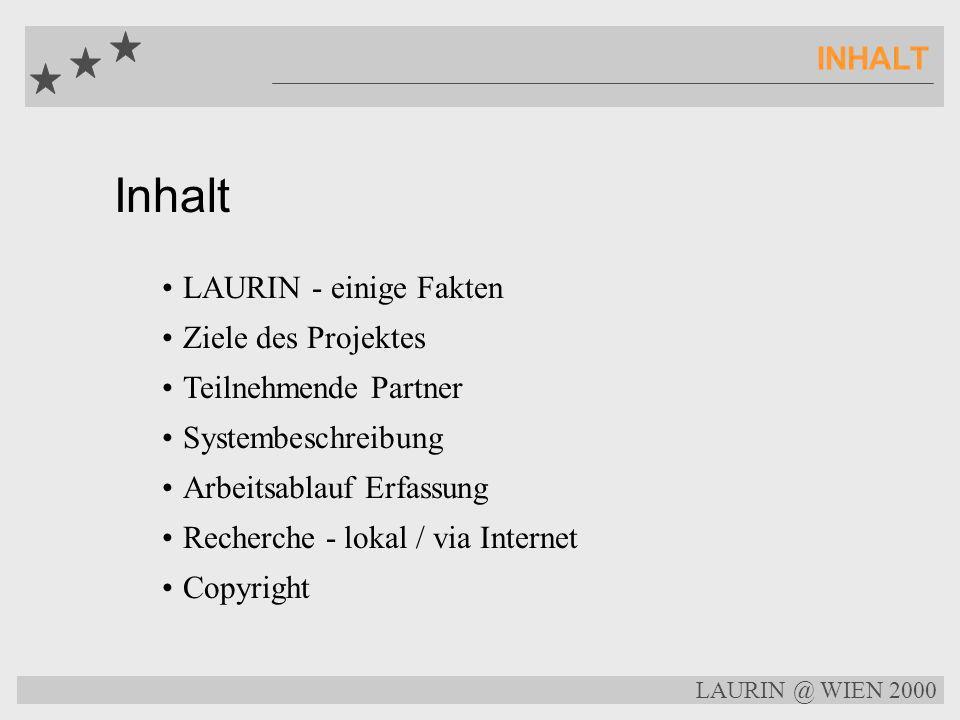 Inhalt INHALT LAURIN - einige Fakten Ziele des Projektes
