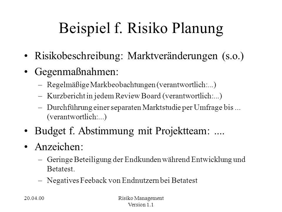 Beispiel f. Risiko Planung