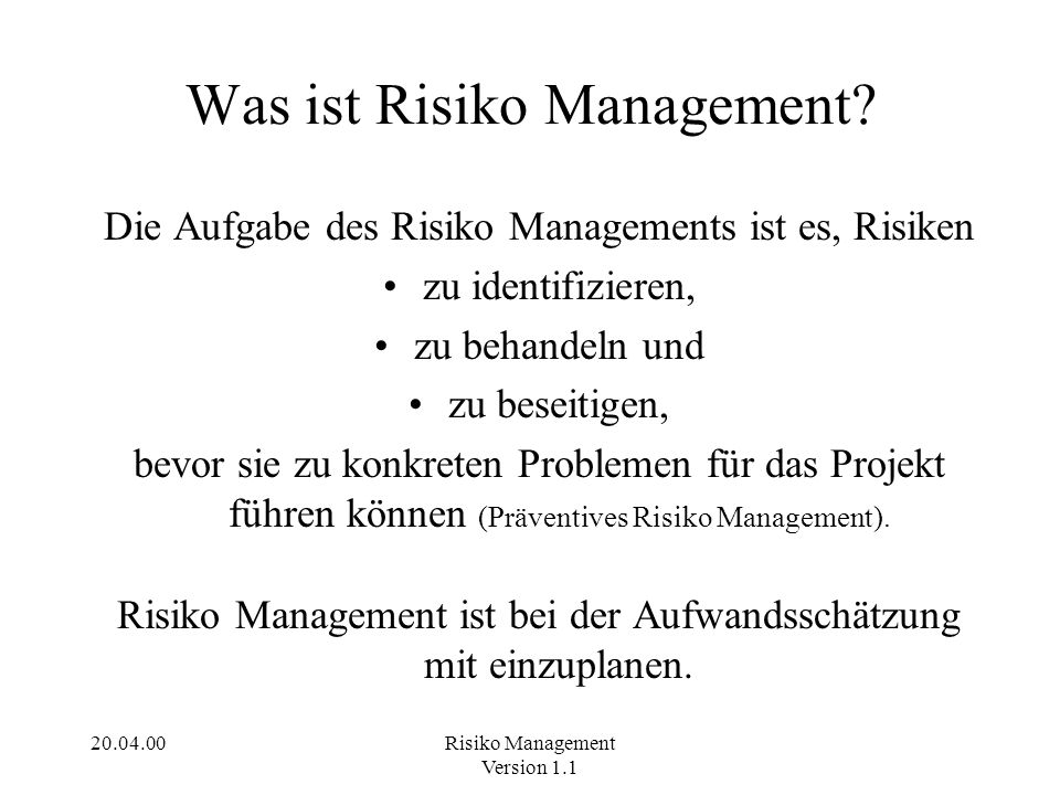 Was ist Risiko Management