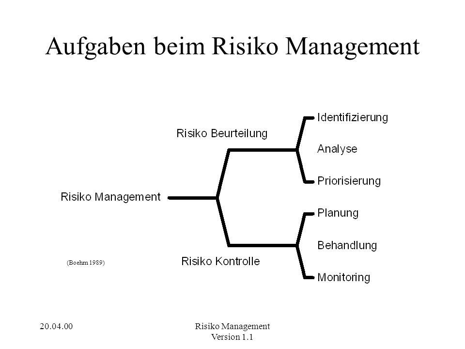 Aufgaben beim Risiko Management