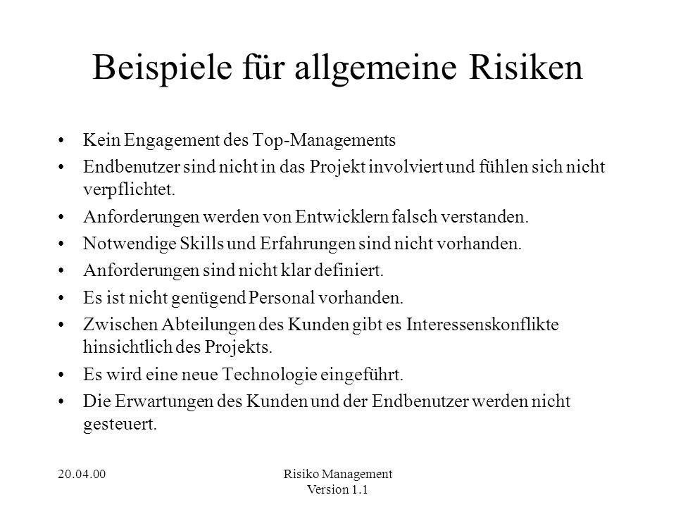 Beispiele für allgemeine Risiken