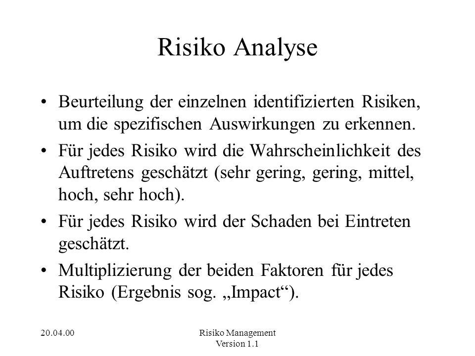 Risiko Analyse Beurteilung der einzelnen identifizierten Risiken, um die spezifischen Auswirkungen zu erkennen.