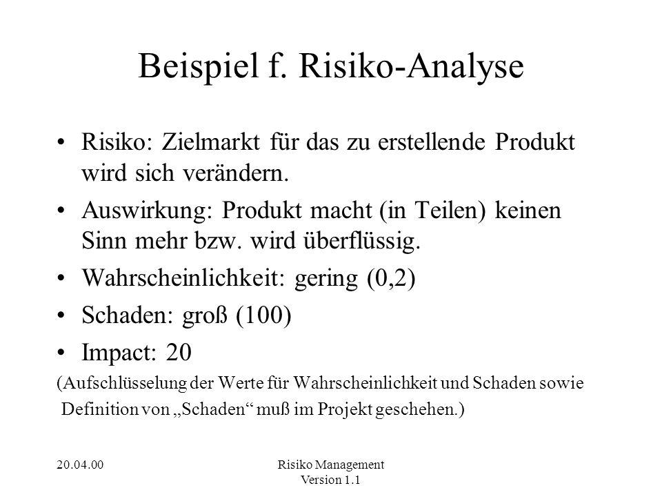 Beispiel f. Risiko-Analyse