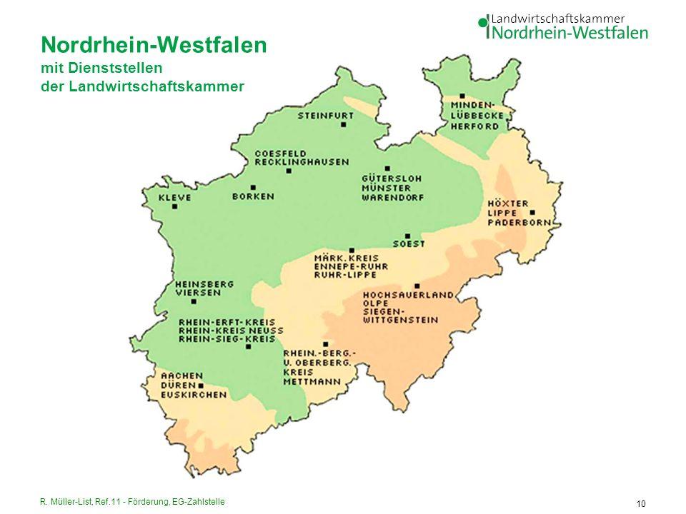 Nordrhein-Westfalen mit Dienststellen der Landwirtschaftskammer
